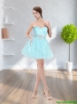 2015 Elegant A Line Strapless Light Blue Cheap Bridesmaid Dress with Appliques