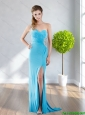 2015 Fashionable One Shoulder Floor Length Cheap Bridesmaid Dress with Beading and High Slit