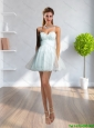 2015 Latest Spaghetti Straps Empire Beading Light Blue Bridesmaid Dress