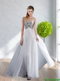 2015 Modest Empire Beading and Ruching Sweetheart White Bridesmaid Dresses