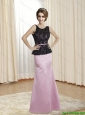 2015 Pretty Belt and Lace Prom Dress in Rose Pink and Black
