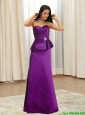 2015 Pretty Bowknot Floor Length Prom Dress in Eggplant Purple