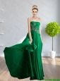 2015 Wonderful Strapless Beading and Appliques Bridesmaid Dresses in Dark Green