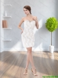 Beautiful Beading and Lace Strapless White 2015 Cheap Bridesmaid Dress with Lace
