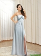 Fashionable 2015 One Shoulder Beading and High Slit Prom Dress in Grey