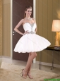Popular 2015 Sweetheart A Line Beading Chiffon Cheap Bridesmaid Dress in White