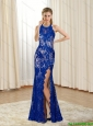 2015 Cheap Halter Top Column Lace and High Slit Bridesmaid Dresses in Royal Blue