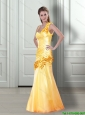 2015 Fashionable Asymmetrical Yellow  Bridesmaid Dresses with Hand Made Flowers