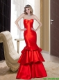 2015 Remarkable Red Mermaid Bridesmaid Dresses with Ruffled Layers