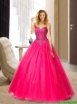 Fashionable Sweetheart Floor Length Hot Pink Bridesmaid Dresses with Beading