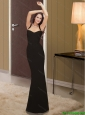 2015 Modest Straps Chiffon Column Black Bridesmaid Dresses