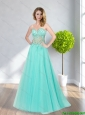 Natural Apple Green A Line Appliques and Beading 2015 Bridesmaid Dresses
