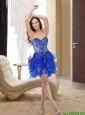 2015 Low price Sweetheart Royal Blue  Bridesmaid Dress with Beading and Ruffles
