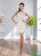 Latest 2015 Lace Column Scoop White Bridesmaid Dress
