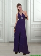 Modest 2015 Empire V Neck Chiffon Beading Bridesmaid Dresses in Dark Purple