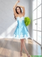 New Style 2015 A Line Sweetheart Aqua Blue BridesmaidDress with Appliques