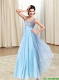 New Style Lace and Ruching Aqua Blue Prom Dress for 2015