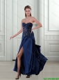 2015 Best Beading and High Slit Navy Blue Prom Dress with Brush Train