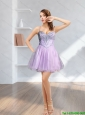 Best 2015 Spaghetti Straps Beading Lilac Prom Dress