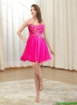 Best 2015 Spaghetti Straps Hot Pink Prom Dress with Embroidery and Beading