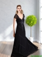 Best 2015 V Neck Beading and Appliques Empire Prom Dress in Black