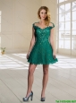 2015 Modest Scoop Cap Sleeves Green Prom Dress with Lace