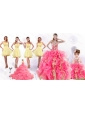 Perfect Beading and Ruffles Quinceanera Dress and Beading Yellow One Shoulder Dama Dresses and Multi Color Ball Gown Pageant Dresses for Little Girl