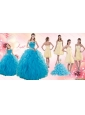 Teal Sweetheart Ruffles Quinceanera Gown and Sweetheart Short Dama Dresses and Teal Halter Top Flower Girl Dress