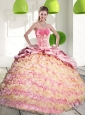 2015 Custom Made  Quinceanera Gown with Ruffled Layers and Appliques
