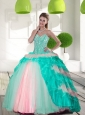 2015 Elegant Beading and Ruffled Layers Sweet 16 Dresses in Multi Color