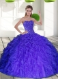 2015 Elegant Sweetheart Quinceanera Dresses with Beading and Ruffles