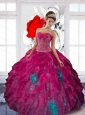 2015 Pretty Sweetheart Appliques and Ruffles Sweet Sixteen Dresses in Multi Color