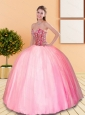 2015 Remarkable Beading Sweetheart Ball Gown Sweet 16 Dresses in Rose Pink