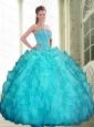 2015 Romantic Beading and Ruffles Sweetheart Sweet 16 Dresses in Aqua Blue