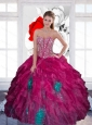 Beautiful Sweetheart Beading Multi Color 2015 Sweet 16 Dress with Ruffles