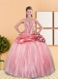 Custom Made 2015 Beading and Pick Ups Sweetheart Quinceanera Dresses in Rose Pink