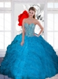 Decent Beading and Ruffles Sweetheart Teal Sweet 16 Dresses for 2015