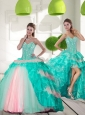 Delicate Beading and Ruffled Layers Quinceanera Gowns in Multi Color for 2015