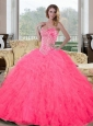 Inexpensive Sweetheart Beading and Ruffles Quinceanera Gown for 2015