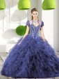 Trendy Navy Blue Sweet 16 Dresses with Beading and Ruffles for 2015