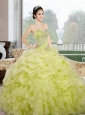 2015 Custom Made Sweetheart Yellow Green Quinceanera Dresses with Ruffles and Pick Ups