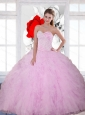 2015 Discount Beading and Ruffles Sweetheart Sweet 16 Dresses in Baby Pink
