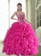 2015 New Style Beading and Ruffles Sweetheart Sweet 16 Dresses in Hot Pink