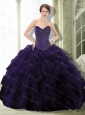 2015 Unique Dark Purple Sweet 15 Dress with Beading and Ruffle
