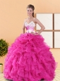 Beautiful Hot Pink 2015 Sweet 16 Dresses with Beading and Ruffles
