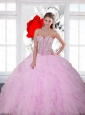 Beautiful Sequins and Ruffles Sweetheart 2015 Sweet 16 Dresses in Baby Pink