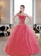 Brand New Ruffles and Appliques 2015 Quinceanera Gown in Coral Red