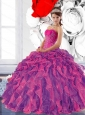 Colorful Sweetheart 2015 Sweet 16 Dress with Appliques and Ruffles