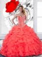 Custom Made Beading and Ruffles Sweetheart Quinceanera Dress for 2015