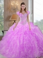 Custom Made  Sweetheart Beading and Ruffles Lilac Sweet 16 Dresses for 2015